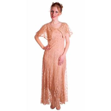 Vintage Dress Pale Peach Lace Garden Party Gown 1930's Small