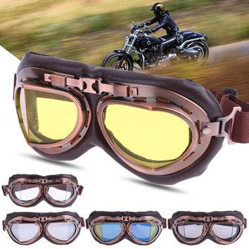1 Pair Anti-fog UV Protection Glasses Aviator Pilot Steampunk Motocross Goggles Ski Bike Cycle Motocross Motorbike Goggle Glass