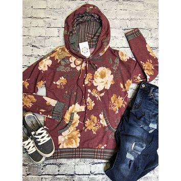 Floral And Plaid Hoodie Top With Front Pocket