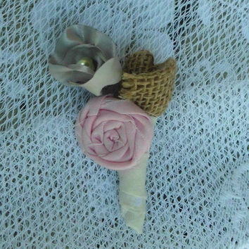 Burlap Boutineer boutonniere Rosette Handmade Fabric Flower Vintage Inspired White Purple Leaves