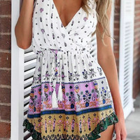 Feather Floral Print Spaghetti Strap Mini Dress