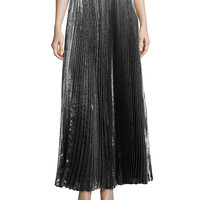 Pleated Metallic Maxi Skirt, Gunmetal, Size: