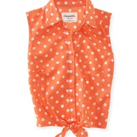 Woven Polka Dot Tie-Front Top - PS From Aeropostale