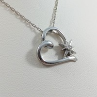 Sterling Silver Necklace Heart With Starburst Diamond 1/10th CT vintage 1990's Perfect Birthday Or Anniversary Present, Great For Wedding