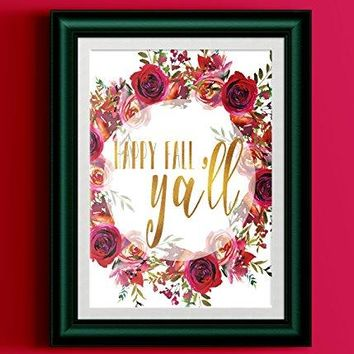 Happy Fall Ya'll Printed Gold Typography Poster Watercolor Red Floral Wreath Black Typography