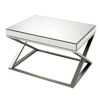 Klein-Mirror And Stainless Steel Coffee Table Clear,Chrome