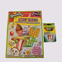 Shopkins 2-in-1 Sticker Activity Book with Crayons Bundle