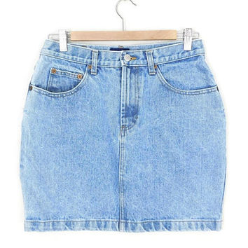 Sz 10 80s 90s High Waisted GAP Denim Mini Skirt - Women's Vintage Stone Washed Short Blue Jean Skirt - 30 Waist