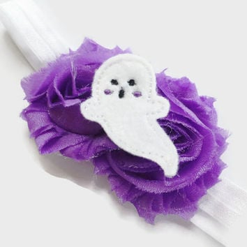 Baby Halloween Headband - Ghost Headband for Girls - Purple Flower Headband for Toddlers - Sparkly Flower Headband - Shabby Flower Headband