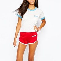 Camp Collection Retro Ringer T-Shirt With Staff Back Print