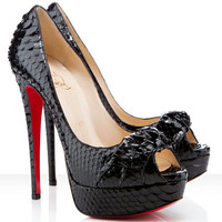Christian Louboutin Madame Butterfly 150mm Python Black Pumps