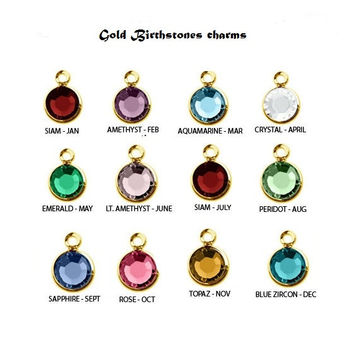 Gold Birthstone charm, birthstone beads, for necklaces, for bracelets, for bangles, birthstone Gift,