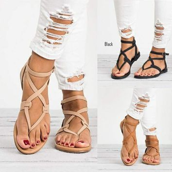 New Hot Women Sandals Gladiator Summer Shoe Female Casual Flat Heel Ankle Strap For Women Rome Style Beach Shoes Plus Size 42 43