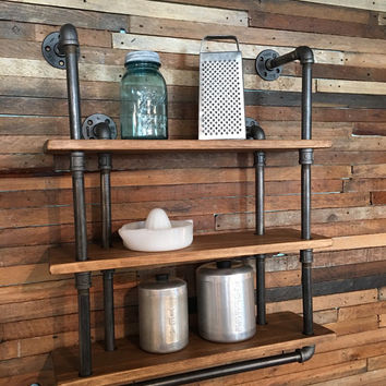 3-Shelf Industrial Gas Pipe Wall Shelf with Towel Bar