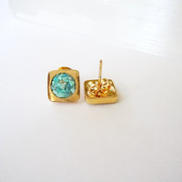 Turquoise Stud Earrings- Raw Stones - Square- Geometric