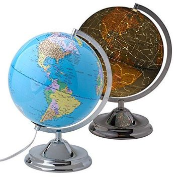 "10"" Educational World Globe for Kids, LED Light & Stand, Map During Day & Constellation at Night."