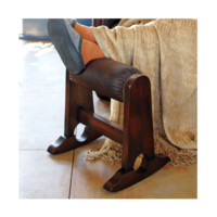 Rolled Leather Footstool - Living & Family Room - Furniture