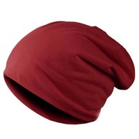 Spring Fashion Men Knitted Winter Cap Casual Beanies for Men Solid Color Hip-hop Slouch Skullies Bonnet Unisex Cap Hat Gorro Red