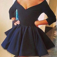 Homecoming Dress,Off Shoulder Black Satin Chiffon Short Prom Dress