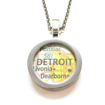 Detroit Michigan Map Pendant Necklace