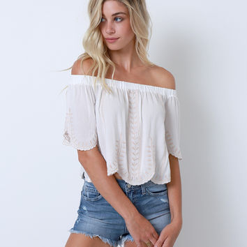Rumor Has It Off-Shoulder Crop Top - White