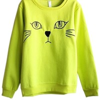 Cat Graphic Fleece Sweatshirt - OASAP.com