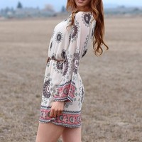 Vintage Chiffon Colorful Belted Boho Dress