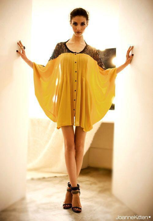YESSTYLE: Joanne Kitten- Lace Shoulder Button-Front Dress (Yellow - One Size) - Free International Shipping on orders over $150