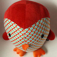 penguin, red stuffed toy