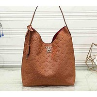 """Louis Vuitton""  women's fashion large-capacity printing simple casual  shopping bag shoulder bag Brown"