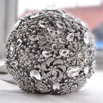 Luxurious Brooch bouquet Ivory Gray Crystal Wedding Bouquet Silk Wedding flowers