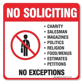 """(4 Pack) No Soliciting Sign - Decal Self Adhesive """"5 X 5"""" 4 Mil Vinyl Decal -..."""