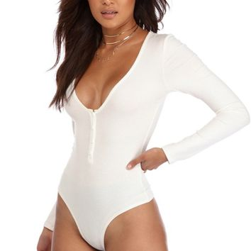 Ivory Basic Bustier Ribbed Bodysuit