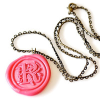 Personalized Monogram Wax Seal Necklace - Custom Initial - 10 Colors Available