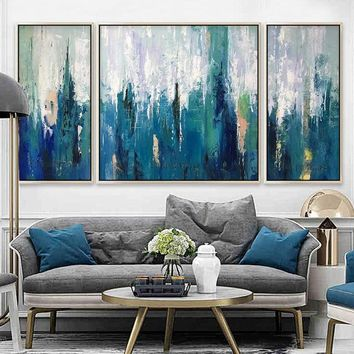 Abstract Painting 3 pieces large wall art pictures cuadros abstractos Painting on Canvas Art Acrylic Blue agate Original painting quadros