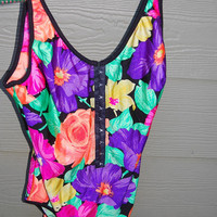 Vintage 80s 90s La Blanca Tropical Floral One Piece Bathing Suit Swimsuit High Cut Legs Hook & Eye Close Front Scoop Back Size 16