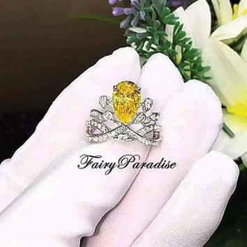 Art Deco 3 Ct Pear Cut Princess Crown Ring/ Engagement Ring / Promise Ring, Man Made Yellow Diamond, Tiara Ring  ( FairyParadise )