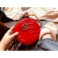 GUCCI 2019 new love round cake bag small round bag shoulder bag Red