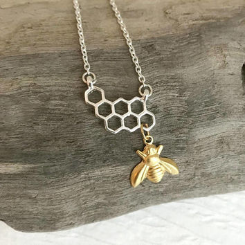 Tiny Bee Honeycomb Necklace, silver and gold small dainty charm honeybee insect nature pendant birthday gift for her girlfriend