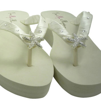 Swarovski Rhinestone Starfish Flip Flops for the Bride at the Wedding. Wedge or Flat heel Bridal Flip Flop sandals in Ivory or White bling