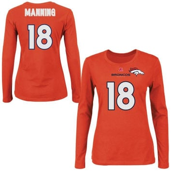 Peyton Manning Denver Broncos Majestic Womens Fair Catch V Name and Number Long Sleeve T-Shirt - Orange
