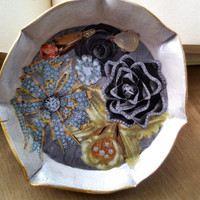 Mixed media Clay and collage Ceramic clay dish Collaged clay dish handmade art dish trinket dish decorative painted dish Clay bowl