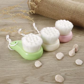 1 Pc Comma Shaped Facial Cleansing Brush Makeup Removing Brush Face Skin Care Massager Portable Pink White Green
