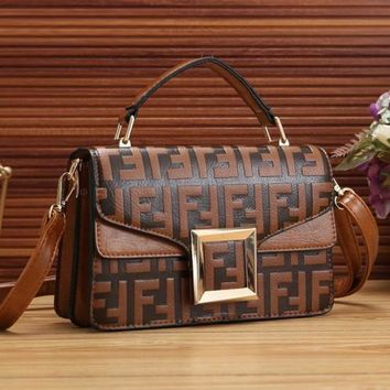 FENDI Fashion New More Letter Leather Crossbody Women Shopping Shoulder Bag Handbag Satchel