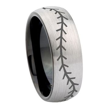 10mm Baseball Dome Tungsten Carbide Silver Black Men's Band Ring