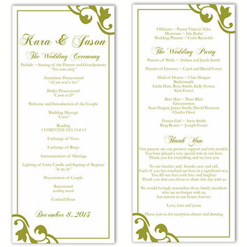 Wedding Program Template DIY Editable Text Word File Instant Download Program Olive Program Green Program Printable Wedding Program 4x9.25