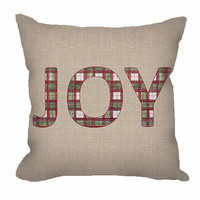 """Holiday """"Joy"""" in Plaid Throw Pillow on faux burlap background"""