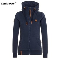 2017 Womens Fashion Fleeces Hoodies Ladies Sweatshirts Casual Girls Tracksuits Solid Long Sleeve Zip Up Clothing Plus Size S-5XL