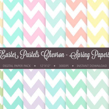 Chevron Digital Paper Pack: 'Easter Pastels Chevron - Spring Papers' for scrapbooking, invitations, cardmaking - Instant Download Printable