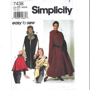 Simplicity 7438 Pattern for Misses' Capes & Wrap, Size XS, Small, Medium, Mostly UNCUT, From 1996, Easy to Sew, Vintage Pattern, Home Sewing